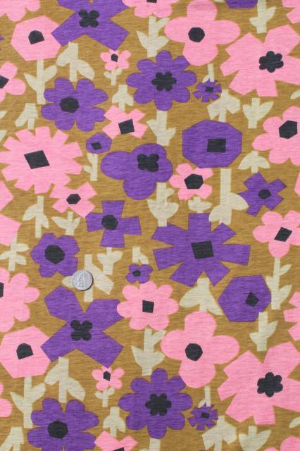 60s 70s Mod Vintage Retro Flower Print Cotton Poly
