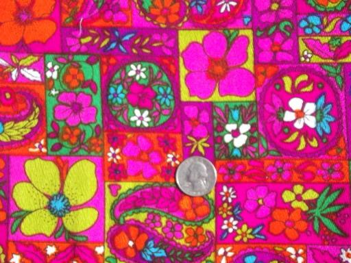 60s 70s Vintage Hawaiian Print Fabric W Neon Bright
