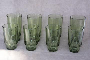 60s 70s vintage avocado green glass drinking glasses thumbprint pattern tumblers