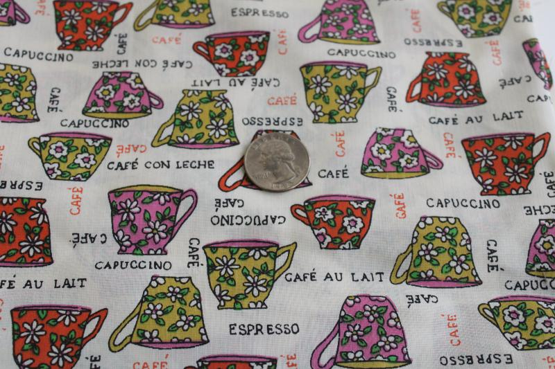 60s 70s vintage coffee mugs print cotton poly blend fabric retro barista style!