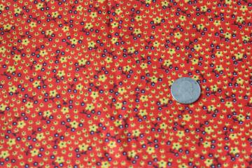 60s 70s vintage cotton fabric w/ calico sprig floral red orange w/ yellow