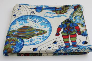 60s 70s vintage cotton fabric, spacesuit astronauts moon landing rockets print