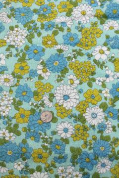 60s 70s vintage daisy print cotton terrycloth towel fabric, aqua blue & chartreuse
