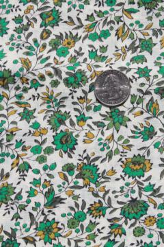 60s 70s vintage fabric, Klopman Mills floral cotton dress / shirting material