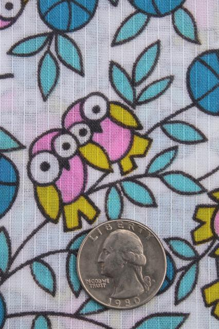 60s 70s vintage fabric w/ baby owls print, cotton / poly blend quilting weight material