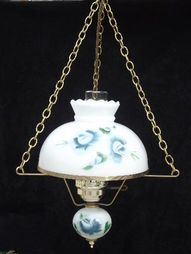 60s 70s vintage hanging lamp swag light hand painted milk glass shade