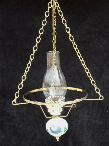 60s 70s vintage hanging lamp swag light, hand-painted milk glass shade