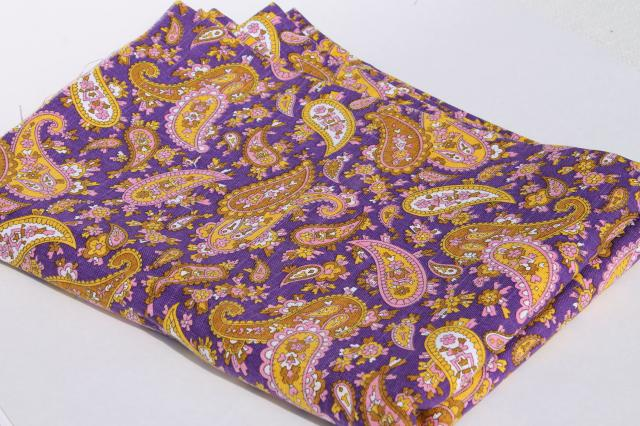 60s 70s vintage linen weave fabric, retro paisley print royal purple & yellow gold