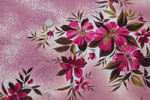 60s 70s vintage lining fabric & satin, retro pink flowered prints for spring coats
