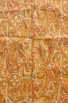 60s 70s vintage mod orange & yellow paisley swirls print crinkle cotton fabric