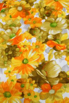 60s 70s vintage poly crepe fabric w/ retro yellow orange daisy floral print
