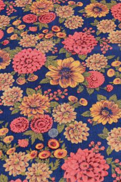 60s 70s vintage print fabric, zinnias in gold & russet orange on navy blue