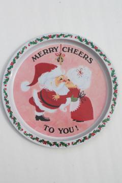 60s 70s vintage tin Christmas tray, retro Santa holiday print Merry Cheers to You!