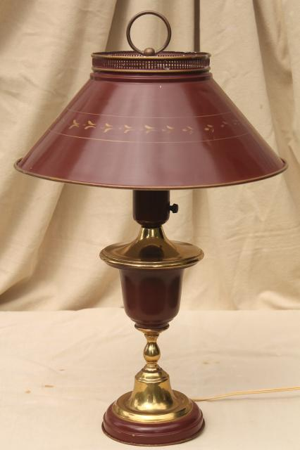 60s 70s Vintage Tole Table Lamp W Metal Shade Burgundy