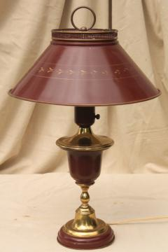 60s 70s vintage tole table lamp w/ metal shade, burgundy red wine w/ antique gold