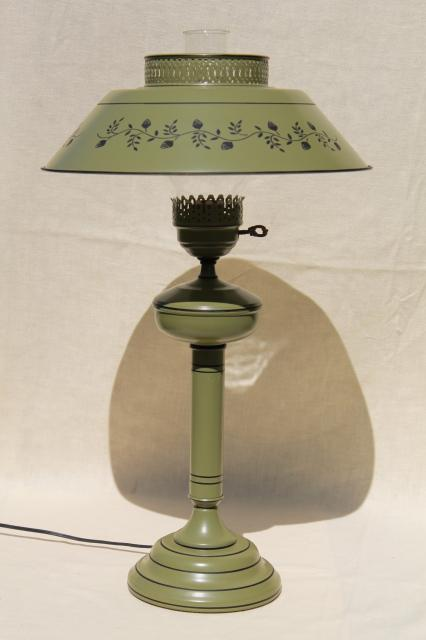 60s 70s Vintage Tole Table Lamp W Metal Shade Olive Green