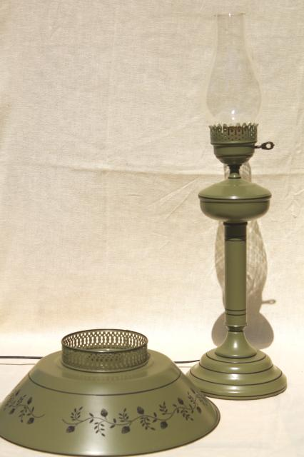 60s 70s Vintage Tole Table Lamp W Metal Shade Olive Green W