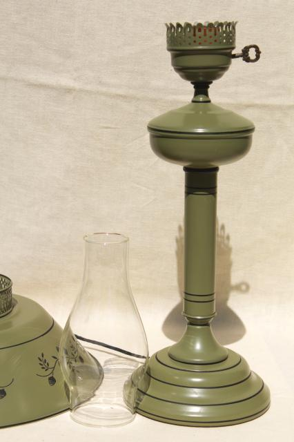 60s 70s Vintage Tole Table Lamp W Metal Shade Olive