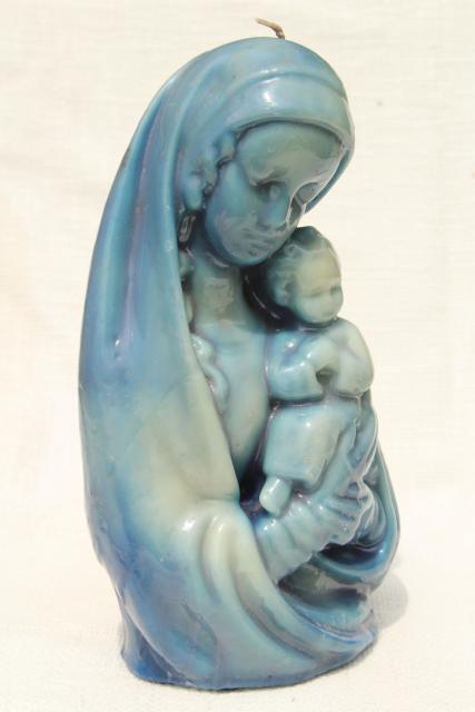 60s 70s vintage wax candle sculpture, large blue Madonna & Child retro Christmas candle