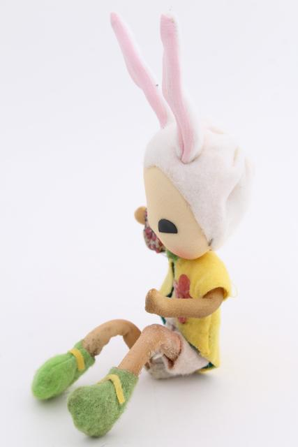 60s Japan Easter bunny pixie girl shelf sitters, Bradley doll vintage poseable wire armature