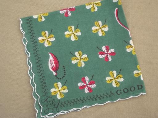 60s designer vintage print hanky, Good Luck printed cotton handkerchief