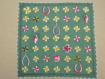 60s designer vintage print hanky, Good Luck printed cotton handkerchief