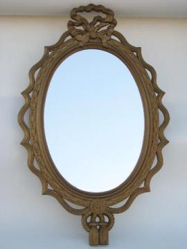 60s French Country Style Gold Rococo Frame W Mirror Vintage Burwood