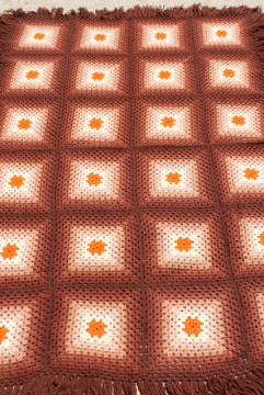60s hippie vintage fringed granny square afghan, crochet wool blanket ombre shaded browns