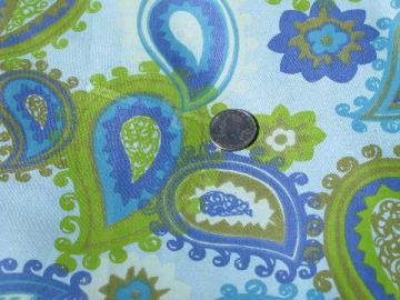 60s mod cotton sateen fabric, big retro paisley print, green on blue