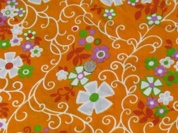 60s mod flower power print on tangerine orange, retro vintage fabric