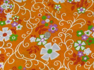 60s mod flower power print on tangerine orange, retro vintage fabric