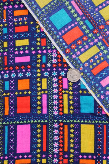 60s mod vintage polyester fabric, poly crepe w/ retro print squares in bright colors