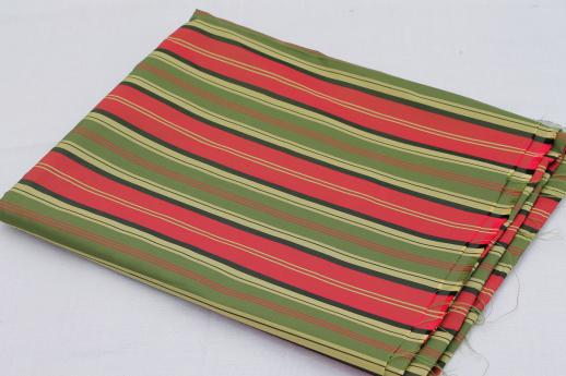 60s olive green & red striped holiday taffeta, vintage Christmas fabric