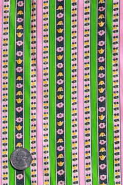 60s retro kelly green / bright pink flowered stripe cotton or blend, vintage fabric