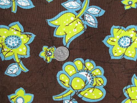 60s retro print cotton fabric, big lime green & aqua flowers on chocolate brown