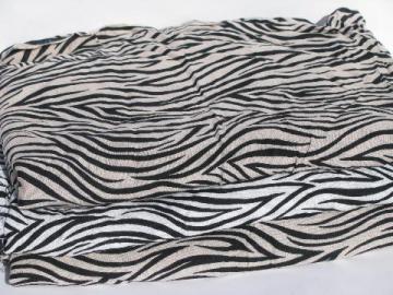 60s vintage 36'' wide print rayon fabric, mod black & white zebra stripe