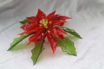 60s vintage Christmas decoration, hard plastic colored lucite poinsettia door hanging
