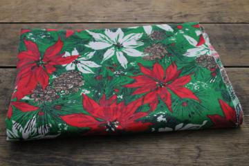 60s vintage Christmas poinsettia print cotton fabric, large tablecloth