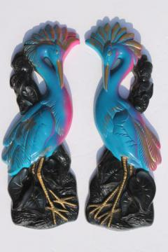 60s vintage Miller Studios chalkware wall plaques, pair of birds w/ vibrant plumage