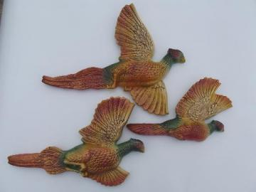 60s vintage Miller chalkware wall plaques, pheasants for cabin or camp