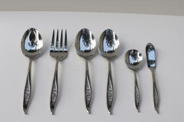 60s vintage One Rose Reed & Barton stainless flatware completer set serving pieces