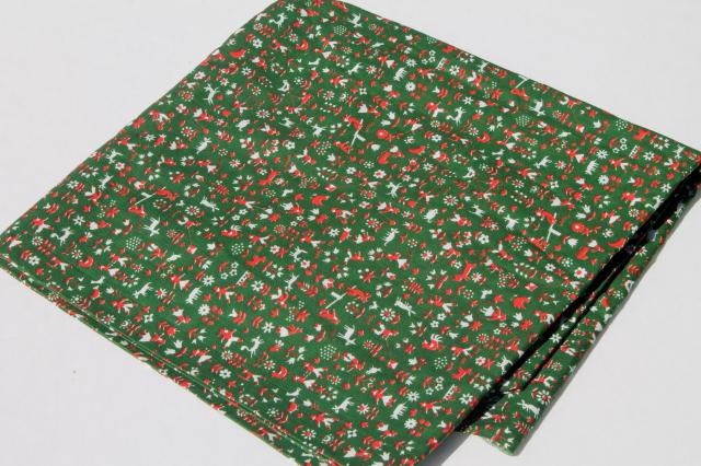 60s vintage Scandinavian style folk print cotton fabric, people & animals in pine green & red