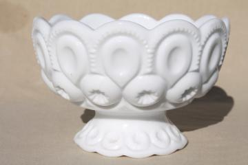60s vintage Smith milk glass Moon & Stars pattern dish, candle bowl for flowers