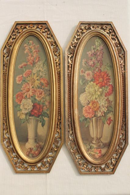 60s Vintage Syroco Florentine Gold Frames W Floral Art