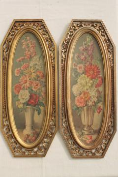 60s vintage Syroco florentine gold frames w/ floral art prints, Italian villa wall plaques