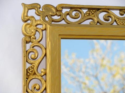 60s vintage Syroco, florentine or spanish colonial ornate gold frame w/ mirror