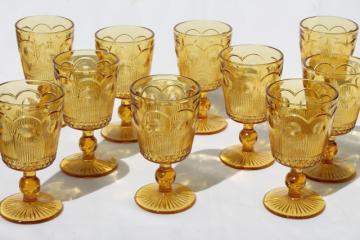 60s vintage amber glass goblets, Bartlett Collins Manhattan water / wine glasses