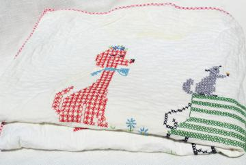 60s vintage baby quilt, hand stitched cross stitch embroidery, retro dogs & cats in hats