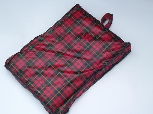 60s vintage camping / stadium blanket, tartan plaid storage bag and label
