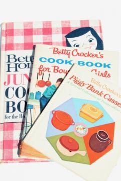 60s vintage children's cook books, kids cooking Betty Crocker, BH+G Junior Cookbook